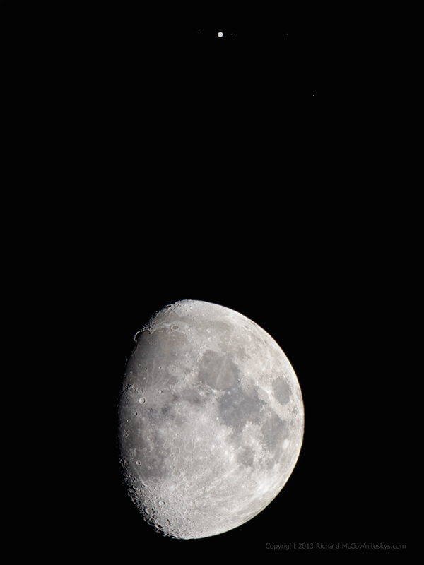 Moon and Jupiter Conjunction - January 21, 2013
