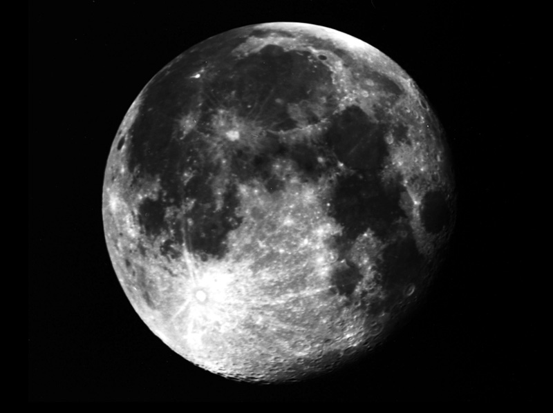 Film image of a gibbous Moon.