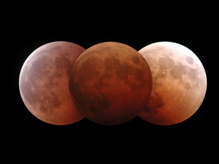A composite image of the October 28, 2004 Lunar Eclipse.