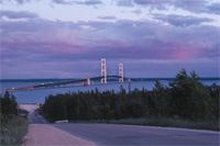 Click to see an image of the Mackinac Bridge at sunset.