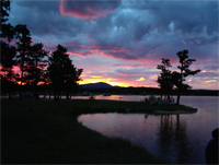 Click to see an image of Dowdy Lake at sunset.