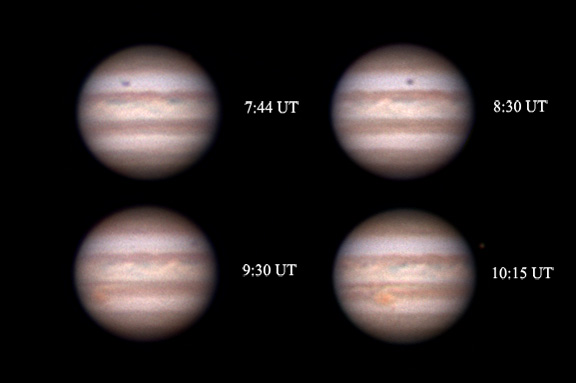 Jupiter's rotation over two hours.